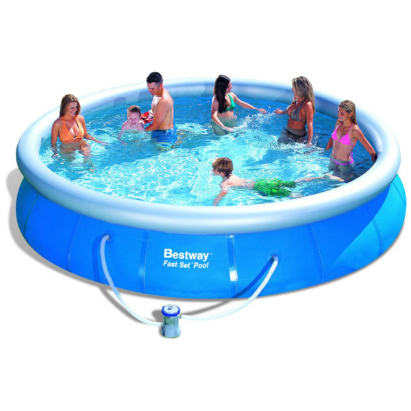 Bestway Fast Set Pool Ø 457 X 84 Cm Inkl Filterpump Säkerhetsstege Bottenskyddsmatta Och Poolskydd från Bestway