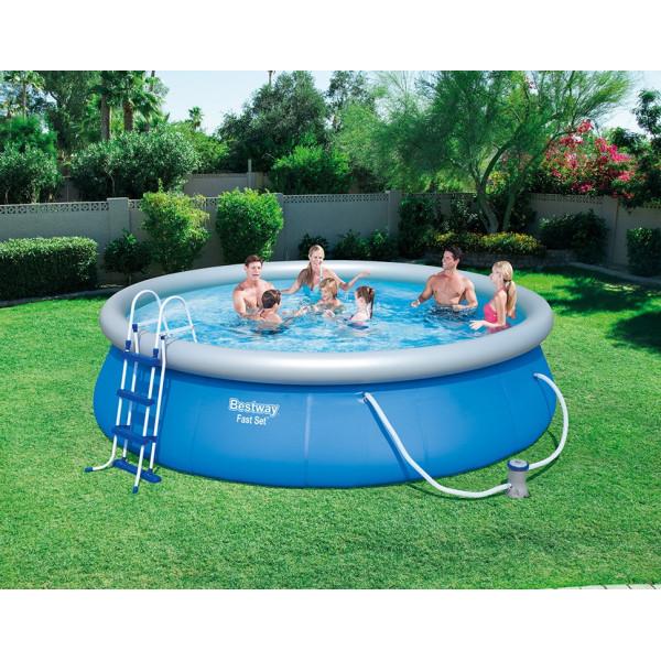 Bestway Fast Set Pool Set Ø 457 X 107 Cm Inkl Filterpump Säkerhetsstege Bottenskyddsmatta Och Poolskydd från Bestway