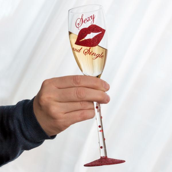 Champagneglas Sexy And Single från Inget märke