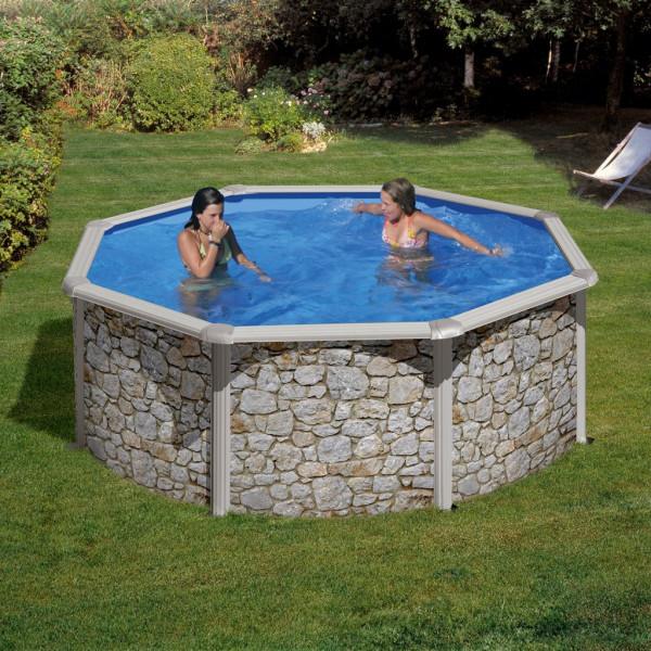 Clear Pool Poolset I Stenimitation Rund Val Ø 460 Cm från Clear pool