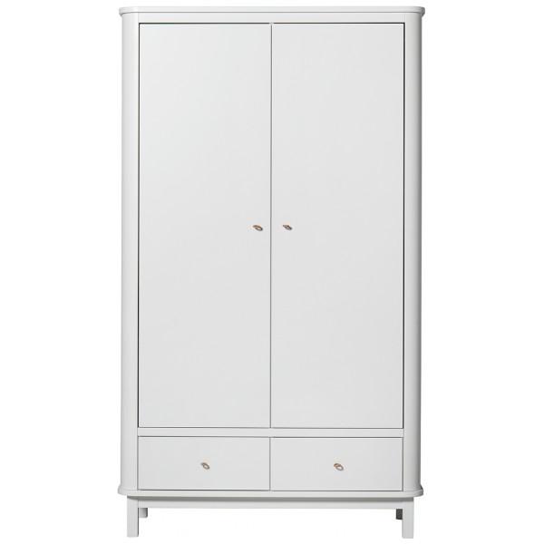 Garderob 2 Dörrar Wood Vit Oliver Furniture från Inget märke