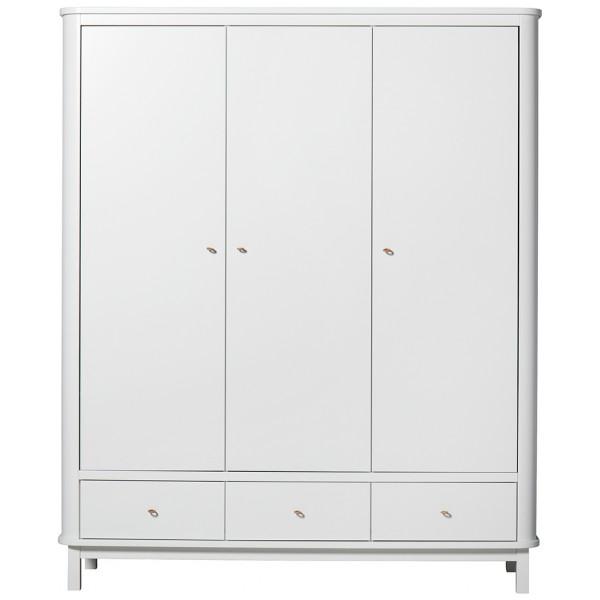 Garderob 3 Dörrar Wood Vit Oliver Furniture från Inget märke