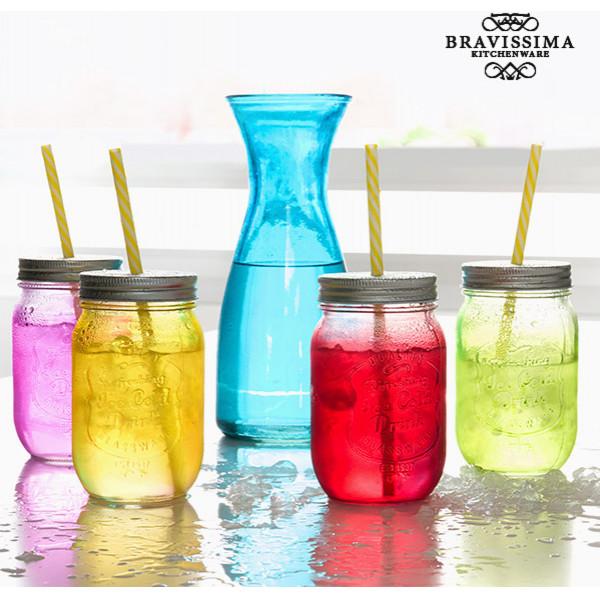 Glas Flaska Med 4 Glaskrus Vintage Colors Bravissima Kitchen från Inget märke