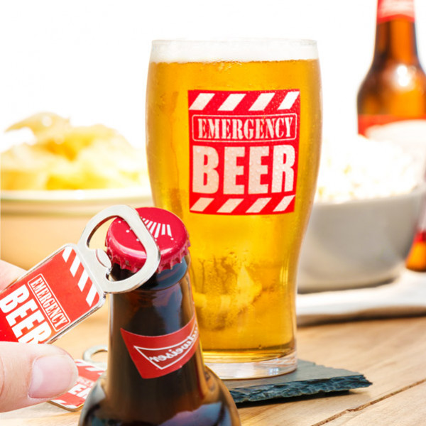 Glas Med Flasköppnare Emergency Beer från Inget märke