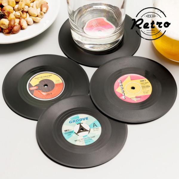 Glasunderlägg Retro Vinylskiva 4 St från Inget märke