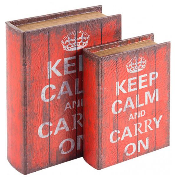 Inredning Boklådor Av Trä Keep Calm 2 St från Inget märke
