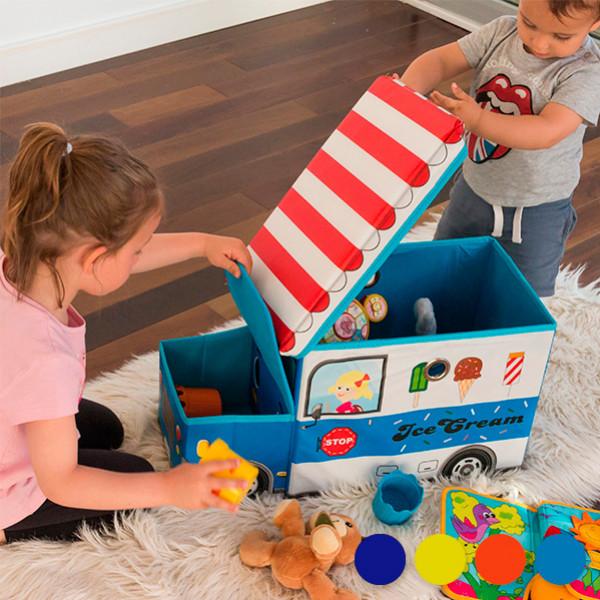 Inredning Hopfällbar Leksakslåda I Tyg Färg Marinblå från Inget märke