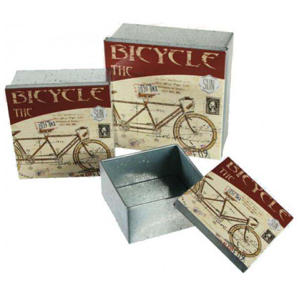Inredning Vintage Metalllådor 3 St Design Cykel från Inget märke
