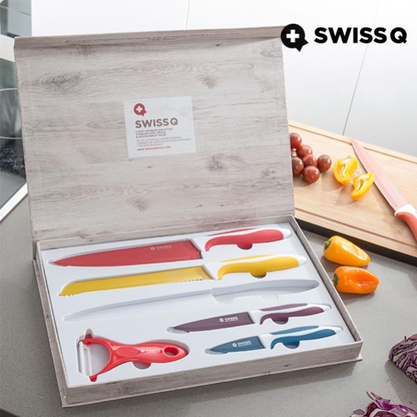 Kniv Med Keramisk Yta 6 St Swiss Q från Inget märke