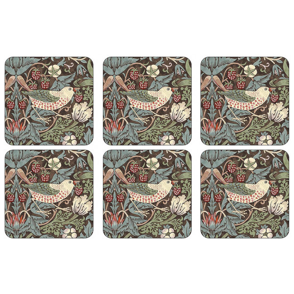 Morris & Co Glasunderlägg Strawberry Thief 6-Pack från Morris & co