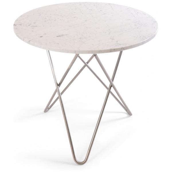 Ox Denmarq O Table Matbord Rostfritt StålVit Marmor Ø80 från Ox denmarq