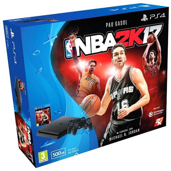 Play Station 4 Slim + 2 Spelkontroller Nba 2K17 Sony 500 Gb 3 Pcs från Inget märke
