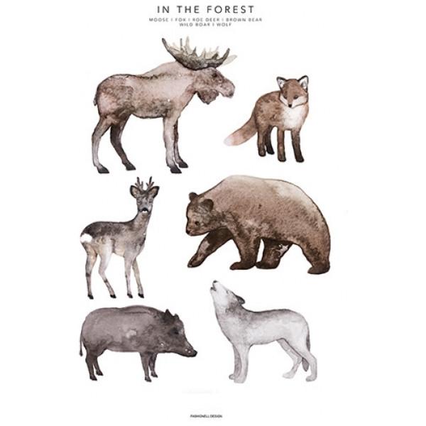 Poster För Barnrum 50 X 70 Cm In The Forest från Inget märke