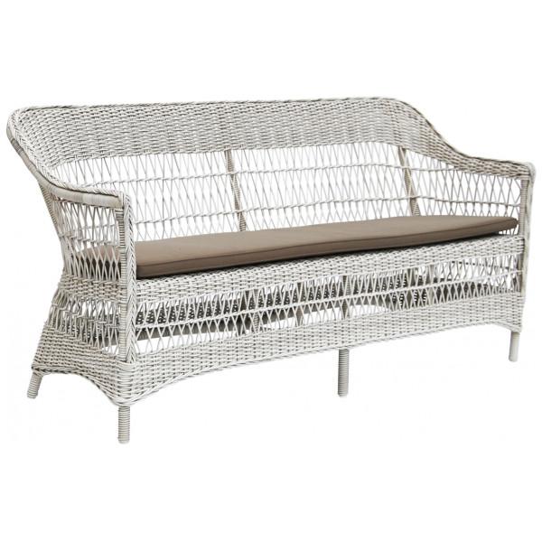 Rottingsoffa Charlot 3 - Sits Vintage White Sika - Design från Inget märke
