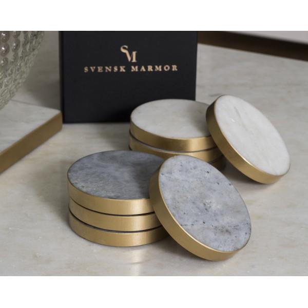 Svensk Marmor Glasunderlägg Ljus Marmor Guldkant Coaster från Svensk marmor