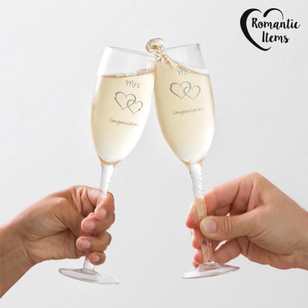 Vinglas Mr & Mrs Congratulations Romantic Items 2 St från Inget märke