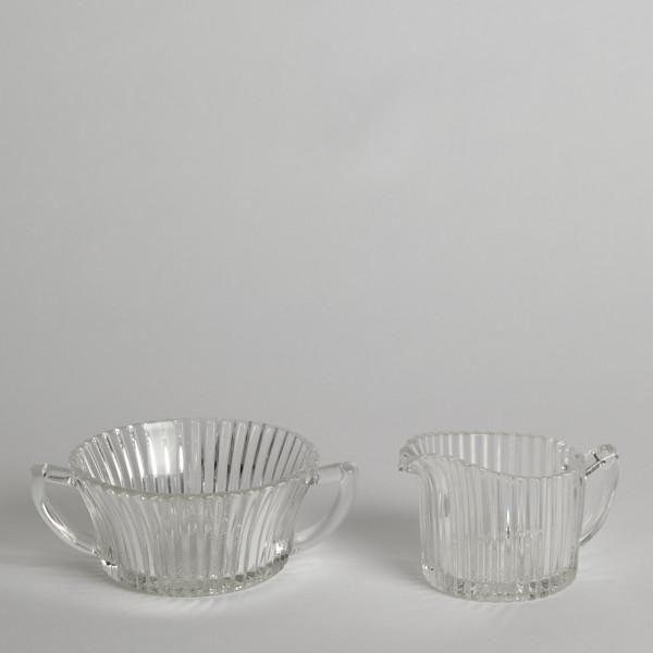 Vintage Gräddkanna Och Sockerskål Pressade Glas från Vintage