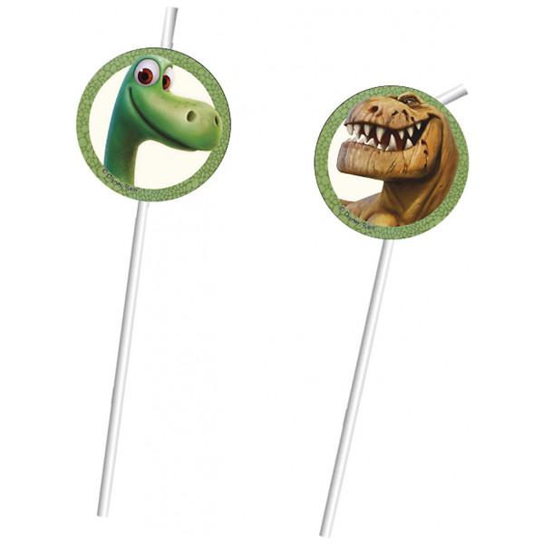 Disney Store Partydukning Den Gode Dinosaurien 6X Böjbara Sugrör från Disney store