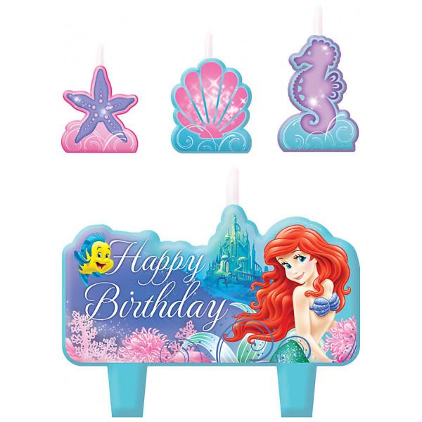 Disney Store Partydukning Den Lilla Sjöjungfrun Set Med Födelsedagsljus från Disney store