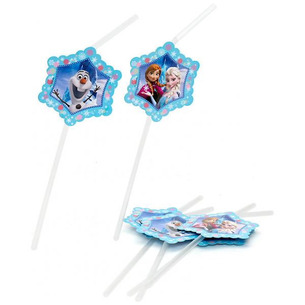 Disney Store Partydukning Frost 6X Böjbara Sugrör från Disney store