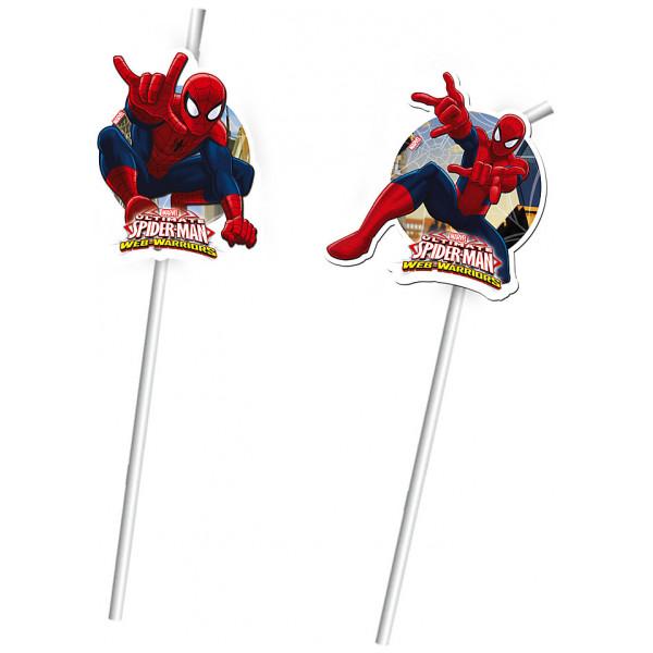 Disney Store Partydukning Spiderman 6X Böjbara Sugrör från Disney store