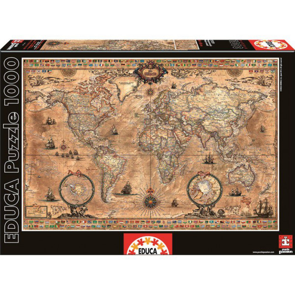 Educa Pussel Puzzle 1000 - Antique World Map 015159 från Educa