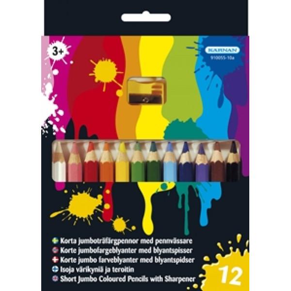 Kärnan Halv-Jumboträfärgpennor 12 St Med Vässare från Kärnan