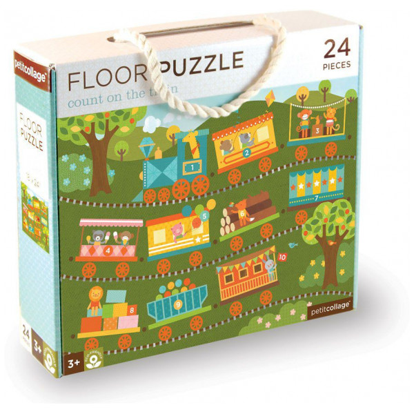 Petit Collage Pussel Floor Puzzle - Count On The Train 24 Pcs från Petit collage